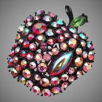 ART signed Apple Rhinestone Brooch