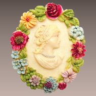 Dyed Celluloid Made in Japan Cameo Brooch
