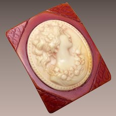 Carved Bakelite and Celluloid Cameo Brooch