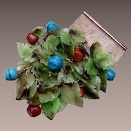 Sterling Jade Leafs, Gold Stone and Turquoise Brooch