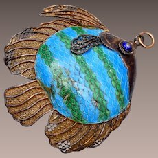 Chinese Silver with Green and Blue Enameled Fish Pendant