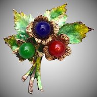 Sterling Germany Enameled and Glass Brooch
