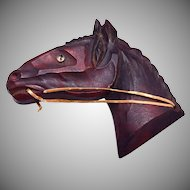 Beautiful Carved Wooden Horse Brooch - Glass Eye