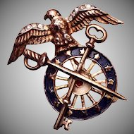 Trifari Sterling 1940's Eagle and Sword Patriotic Brooch