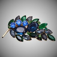 Blue and Green Molded Glass Brooch