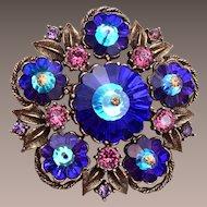Weiss Blue Rivoli Crystal and Purple Rhinestone Brooch