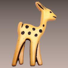 Celluloid Baby Deer Brooch