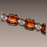 Enameled and Topaz Faceted Stone Bracelet
