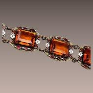 Enameled and Topaz Faceted Stone Bracelet