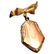 Sterling Bow Brooch With Locket