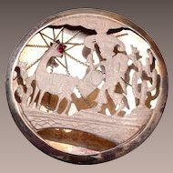 900 Silver Scene Pendant or Brooch