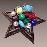Coro Multi Color, Shape and Size Stone Brooch