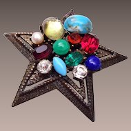 Coro Multi Color, Shape and Size Stone Brooch