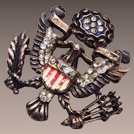 Trifari Sterling Eagle and Shield Brooch