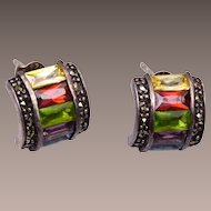 Sterling and Marcasite Pierced Earrings with Unfoiled Colorful Stones