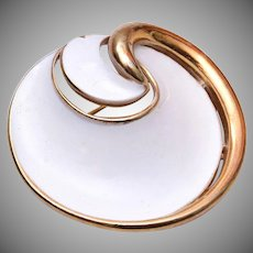 Trifari White Enameled Modern Brooch