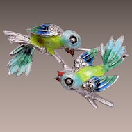 Alice Caviness Sterling Germany 2 Bird Enameled Brooch