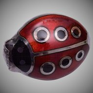 Sterling Italy Enameled Lady Bug Brooch