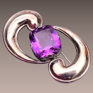 Silver and Amethyst Stone Brooch