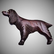 Wooden Carved Irish Setting Dog Brooch