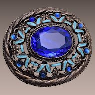 Blue Rhinetsone and Enamel Brooch