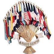 1941 Coro Amigos Siempre Flag Brooch