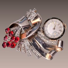 Mechanical Watch Brooch - Runs Beautifully