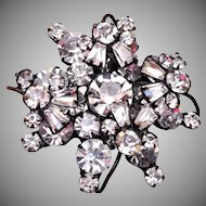 Wired Over Japanned Black and Clear Rhinestone Brooch