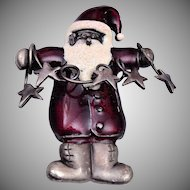 Enameled Christmas Santa Brooch