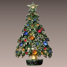Enameled Green and Colorful Rhinestone Christmas Tree Brooch
