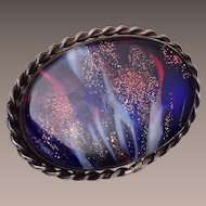 Sterling Sandwich Glass Briggs Cape Cod Brooch