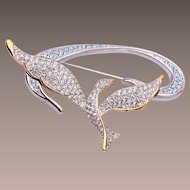 Swarovski Silver and Gold Bird Brooch
