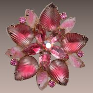 Pink Molded Glass and Givre' Brooch