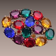 Colorful Open Backed Rhinestone Brooch