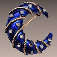 Crown Trifari Blue Enamel Crescent Moon with Rhinestones