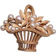 Trifari Flower Basket Brooch