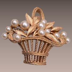 Trifari Flower Basket Brooch