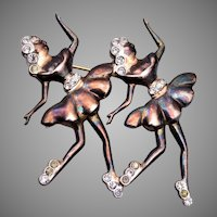 Sterling Pair of Ice Skaters Brooch