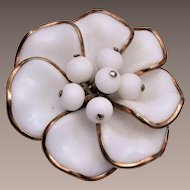 Trifari Pre 1955 Poured Glass Flower Brooch