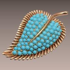 Trifari Turquoise Leaf Brooch