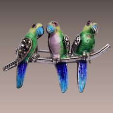 Alice Caviness Sterling Germany Marcasite and Enamel Bird Brooch