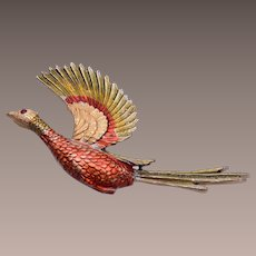 JJ Painted Flying Pheasant Brooch