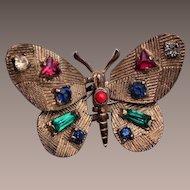 Beautiful Multi Stone Butterfly Brooch