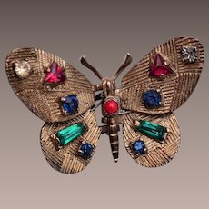 Beautiful Multi Stone Butterfly Brooch