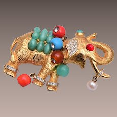 DeNicola Hard to Find Elephant Brooch