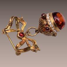 Jeweled Amber Dangling Brooch
