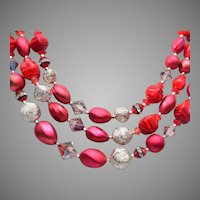 Red Glass 3-Strand Beaded Necklace