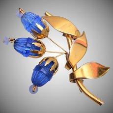 Blue Molded Glass Brooch