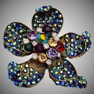 Colorful Rhinestone Flower Brooch