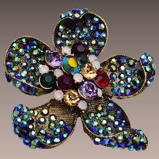 Colorful Rhinestone Flower Brooch